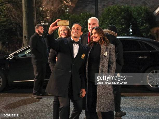 Kelli Giddish Mariska Hargitay and Patrick Page are seen at the film set of the 'Law and Order Special Victims Unit' outside the 'Tavern on The...