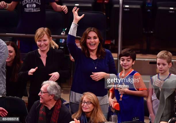 Kelli Giddish Mariska Hargitay and son August Hermann attend the San Antonio Spurs Vs New York Knicks game at Madison Square Garden on February 12...