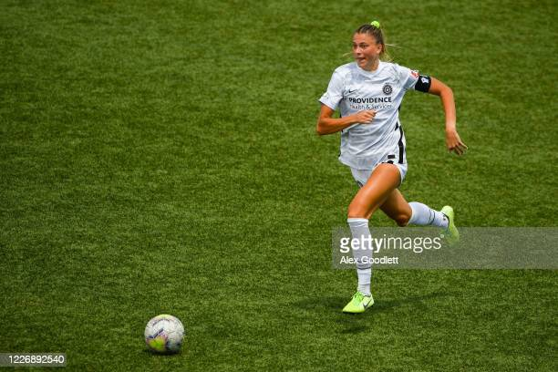 Kelli Hubly of Portland Thorns FC in action during a game against the OL Reign on day 8 of the NWSL Challenge Cup at Zions Bank Stadium on July 13...