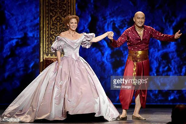 Kelli O'Hara and Ken Watanabe perform with the cast of the King and I onstage at the 2015 Tony Awards at Radio City Music Hall on June 7 2015 in New...