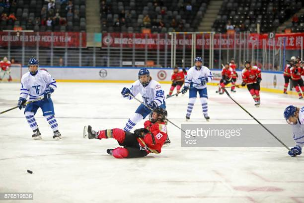 Kelli Stack of Kunlun Red Star WIH falls down during the 2017/2018 Canadian Women's Hockey League CWHL match between Kunlun Red Star WIH and Toronto...