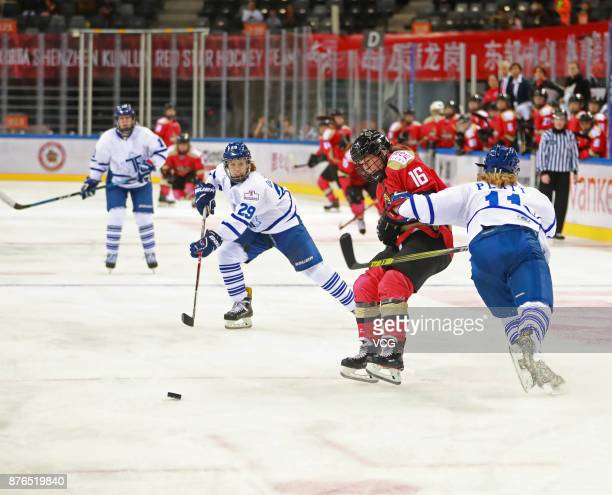 Kelli Stack of Kunlun Red Star WIH vies for the puck during the 2017/2018 Canadian Women's Hockey League CWHL match between Kunlun Red Star WIH and...
