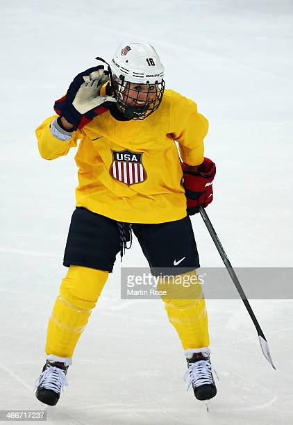 Kelli Stack of United States shares a joke during a training session ahead of the Sochi 2014 Winter Olympics at Shayba Arena on February 3 2014 in...