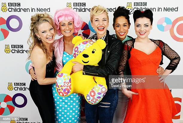 Kellie Bright Luisa BradshawWhite Maddy Hill Rebecca Scroggs and Shona McGarty after performing 'GreaseEnders' backstage at the Star Bar during BBC...