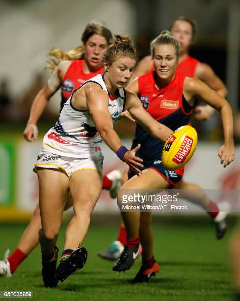 Kellie Gibson of the Crows in action during the 2017 AFLW Round 06 match between the Adelaide Crows and the Melbourne Demons at TIO Stadium on March...