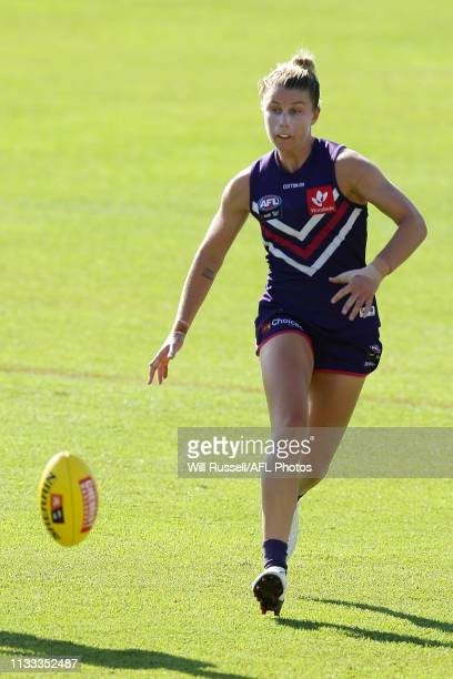 Kellie Gibson of the Dockers chases the ball during the round five AFLW match between the Fremantle Dockers and the Western Bulldogs at Fremantle...