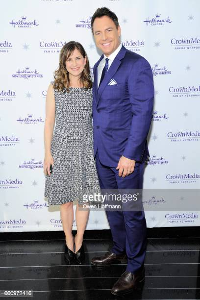 Kellie Martin and Mark Steines at Crown Media's Upfront Event at Rainbow Room on March 29, 2017 in New York City.