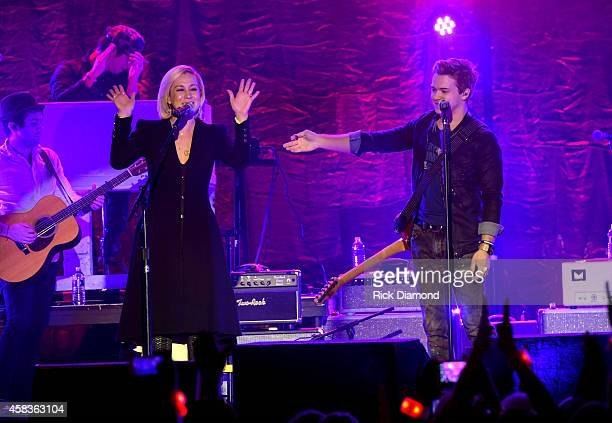 Kellie Pickler and Hunter Hayes perform onstage during the CMA Awards Week Street Party on November 3 2014 in Nashville Tennessee