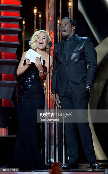 Kellie Pickler and Sean Combs speak onstage during the 47th annual CMA awards at the Bridgestone Arena on November 6 2013 in Nashville United States