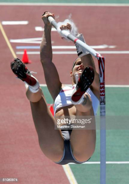 Kellie Suttle's pole breaks while competing in the women's Pole Vault Final during the US Olympic Team Track Field Trials on July 18 2004 at the Alex...