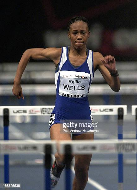 Kellie Wells competes in the women's 60meter college hurdles during the Verizon Millrose Games at Madison Square Garden New York City February 6 2003