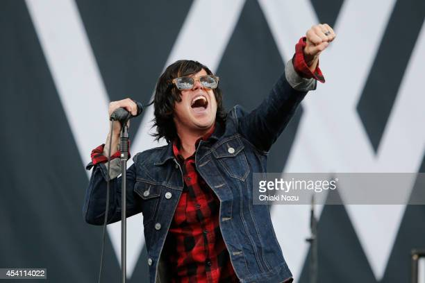 Kellin Quinn of Sleeping With Sirens performs on Day 3 of the Reading Festival at Richfield Avenue on August 24 2014 in Reading England