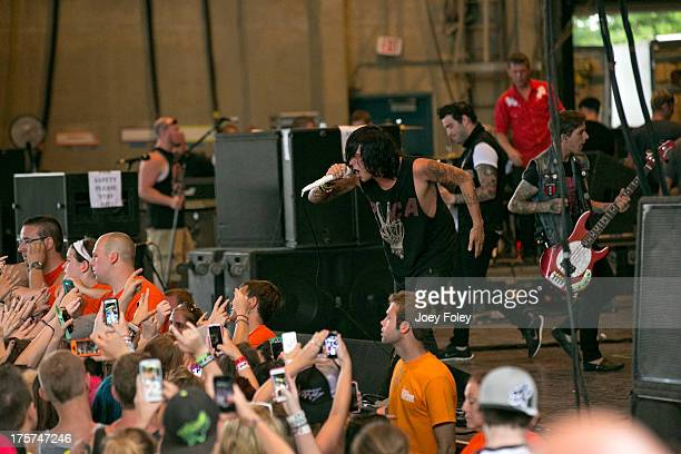 Kellin Quinn of Sleeping with Sirens performs onstage during the 2013 Van Warped Tour at Riverbend Music Center on July 30 2013 in Cincinnati Ohio