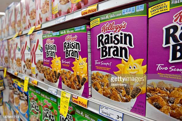 Kellogg Co Raisin Bran brand breakfast cereal sits on display in a supermarket in Princeton Illinois US on Friday Jan 27 2012 Kellogg Co will release...