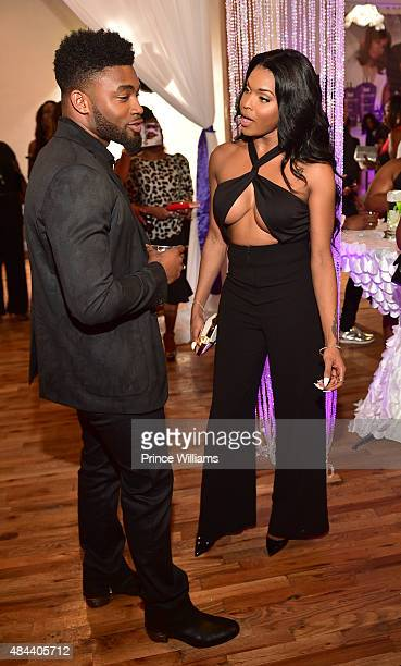 Kellon Deryck and Amiyah Scott attend Kenya Moore Hair Care Launch Event at M Rich Building on August 17 2015 in Atlanta Georgia