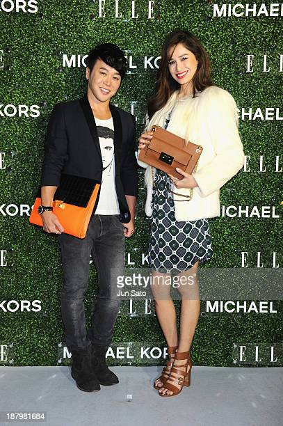 Kelly and guest attends 'Michael Kors and Miranda Kerr Celebrate Elle Japon December Cover' party at the Gallery of Horyuji Treasures of the Tokyo...