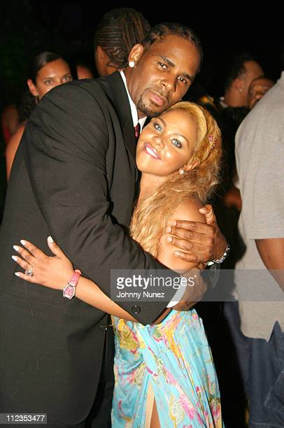 R Kelly and Lil' Kim during Roc Digital's Rocbox Launch Party at Sky Bar at The Shore Club in Miami Florida United States