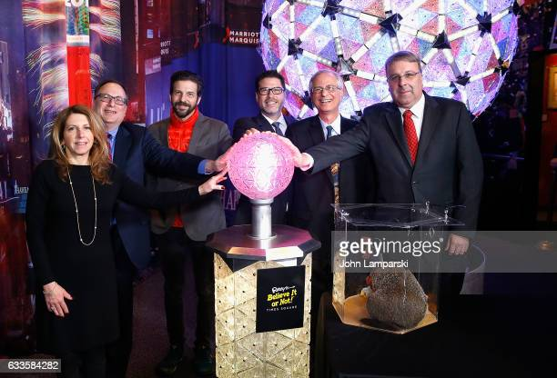 Kelly Ann Curtin Jeff Straus Tim Tompkins Bret Pidgeon Ed Burke and Kenneth Mitchell attend as Groundhog Staten Island Chuck unveils new interactive...