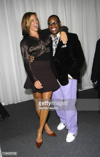 Kelly Bensimon and Andre Harrell during Olympus Fashion Week Fall 2006 Baby Phat Inside Arrivals and Departures at The Tent Bryant Park in New York...