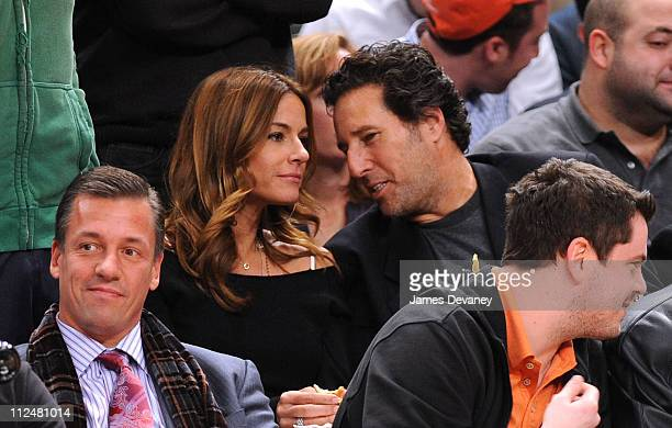 Kelly Bensimon and guest attend the Knicks vs the Phoenix Suns Game at Madison Square Garden on December 1 2009 in New York City