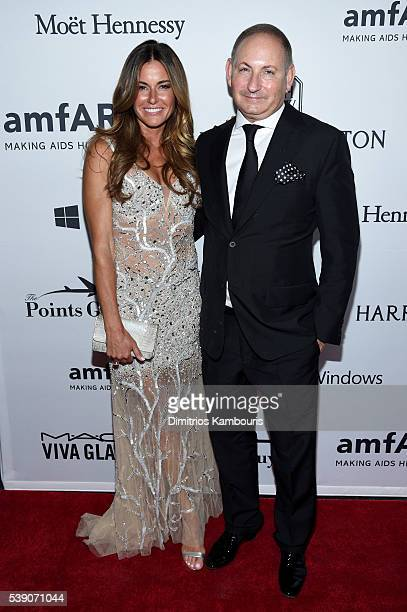 Kelly Bensimon and MAC CEO John Demsey attend the 7th Annual amfAR Inspiration Gala at Skylight at Moynihan Station on June 9 2016 in New York City