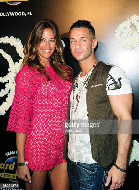 Kelly Bensimon and Mike 'The Situation' Sorrentino from MTV series 'Jersey Shore' arrives at Grand Opening of Martorano's Restaurant at Seminole Hard...