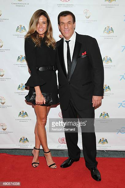 Kelly Bensimon and Robert Davi attend a reception gala for the 70th Anniversary of the United Nations and the Post2015 Development Agenda at United...