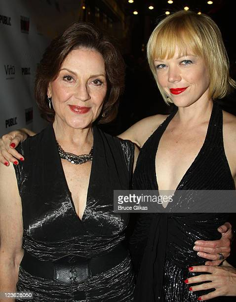 Kelly Bishop and Emily Bergl pose at the Opening Night of Bloody Bloody Andrew Jackson on Broadway at The Bernard B Jacobs Theatre on October 13 2010...