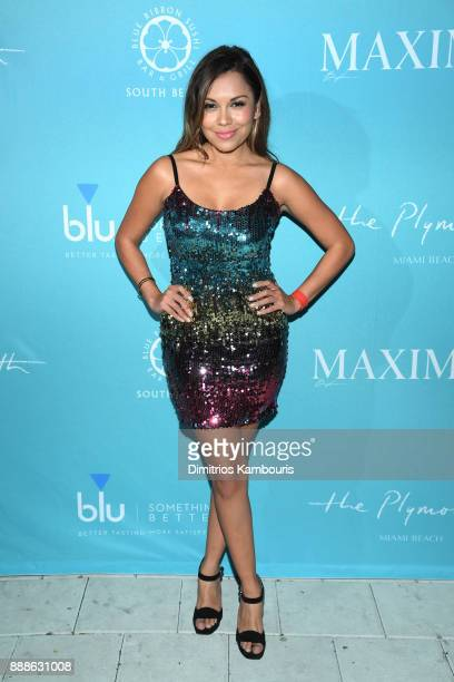 Kelly Blanco attends the Maxim December Miami Issue Party Presented by blu on December 8 2017 in Miami Beach Florida