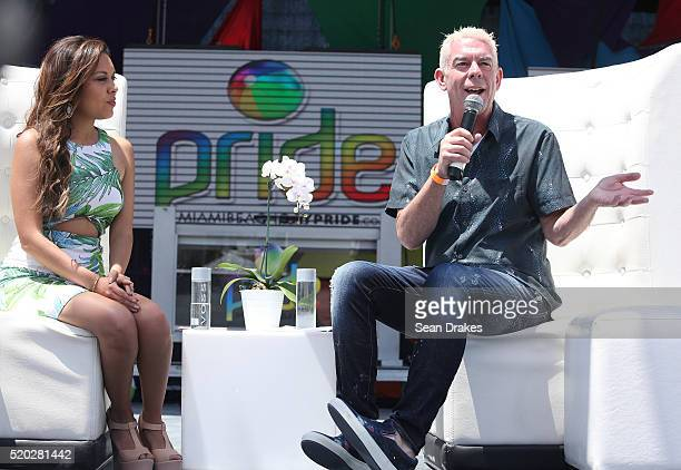 Kelly Blanco interviews American radio show host Elvis Duran during a media conference as part of the 8th annual Miami Beach Gay Pride Festival on...