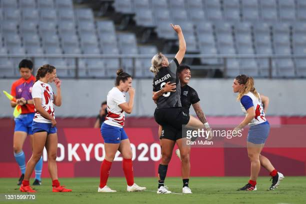 Kelly Brazier and Gayle Broughton of Team New Zealand celebrate after defeating Team France in the Women's Gold Medal match between Team New Zealand...