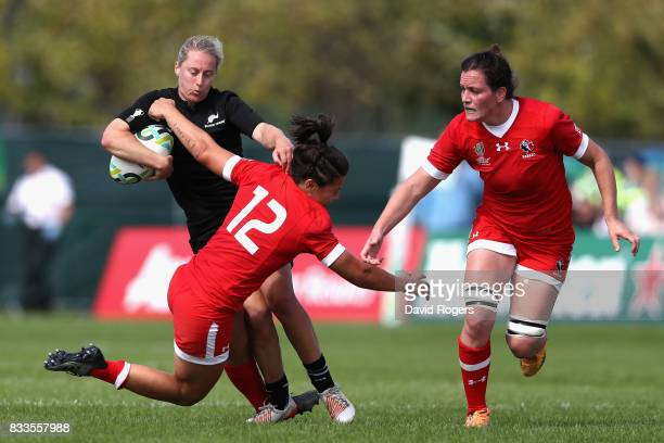 Kelly Brazier of New Zealand Black Ferns takes on Amanda Thornborough of Canada during the Women's Rugby World Cup Pool A match between Canada and...