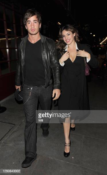 Kelly Brook and her boyfriend Danny Cipriani leave J Sheekey restaurant on November 2, 2009 in London, England.