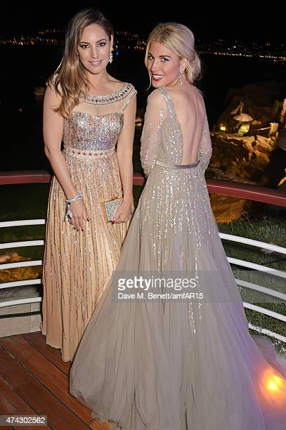 Kelly Brook and Hofit Golan attend the after party at amfAR's 22nd Cinema Against AIDS Gala Presented By Bold Films And Harry Winston at Hotel du...