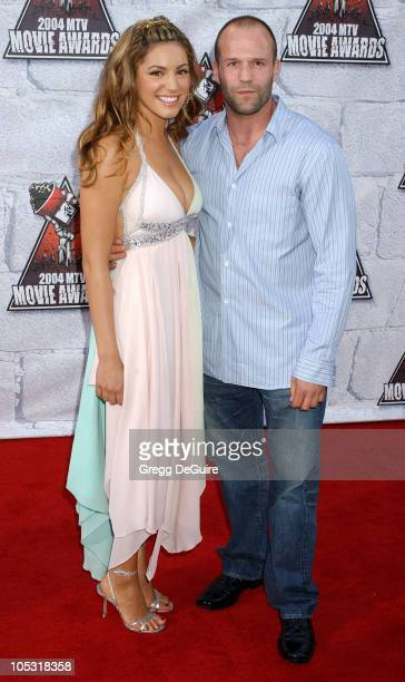 Kelly Brook and Jason Statham during MTV Movie Awards 2004 Arrivals at Sony Pictures Studios in Culver City California United States