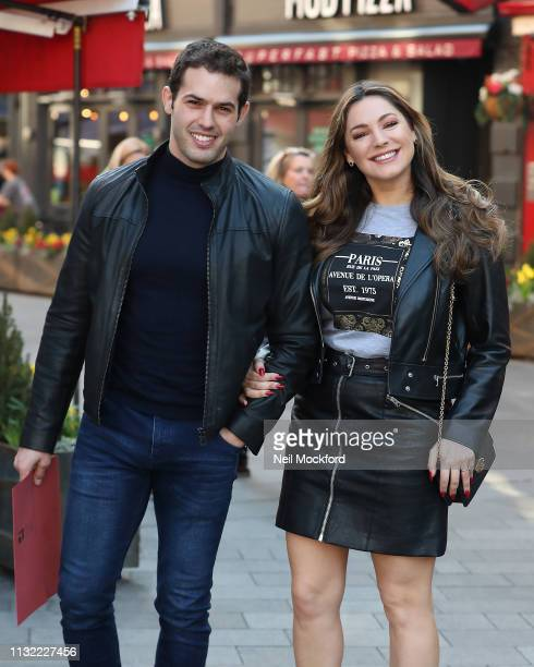 Kelly Brook and Jeremy Parisi at Global Radio Studios on February 26, 2019 in London, England.