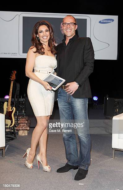 Kelly Brook and Simon Stanford Vice President Communications and Networks Samsung UK and Ireland reveal the Samsung Galaxy Note 101 at its London...