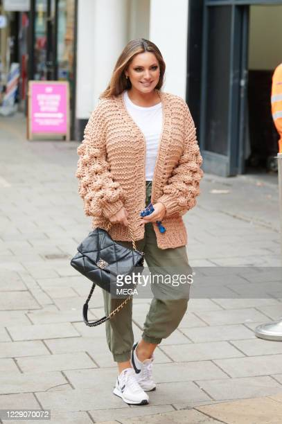 Kelly Brook arriving at Global Radio on October 14, 2020 in London, England.