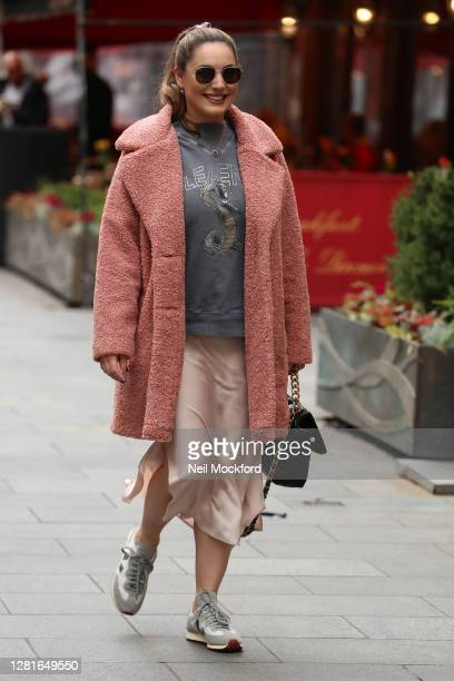 Kelly Brook arriving at Heart Radio Studios on October 22 2020 in London England