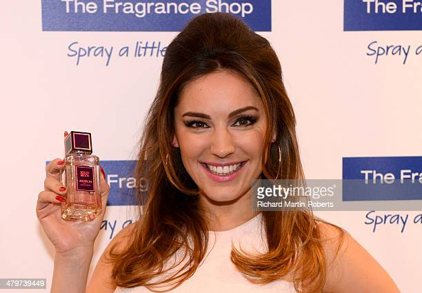 Kelly Brook attends a photocall to launch her new fragrance 'Audition' at The Trafford Centre on March 20 2014 in Manchester England