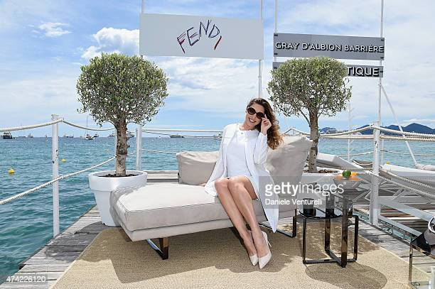 Kelly Brook attends the launch of the new Fendi By Karl Lagerfeld Book during the 68th annual Cannes Film Festival on May 21 2015 in Cannes France