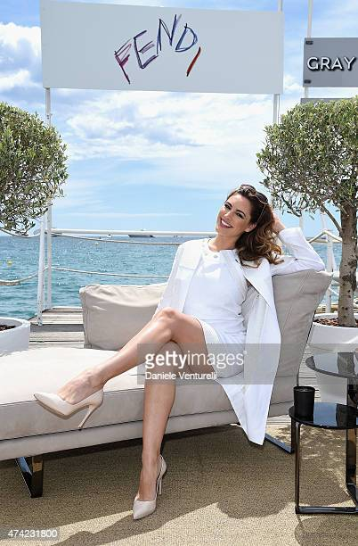 Kelly Brook attends the launch of the new 'Fendi By Karl Lagerfeld' Book during the 68th annual Cannes Film Festival on May 21 2015 in Cannes France