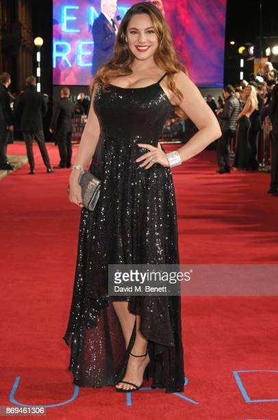 "Kelly Brook attends the World Premiere of ""Murder On The Orient Express"" at The Royal Albert Hall on November 2, 2017 in London, England."