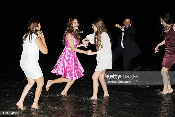 Kelly Brook Camila Sola Eli Roth and Lucila Sola attend Day 5 of the Ischia Global Fest 2011 on July 14 2011 in Ischia Italy