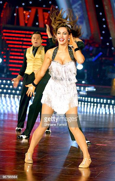 Kelly Brook dances at photocall to launch the Strictly Come Dancing Live Tour at MEN Arena on January 15 2010 in Manchester England