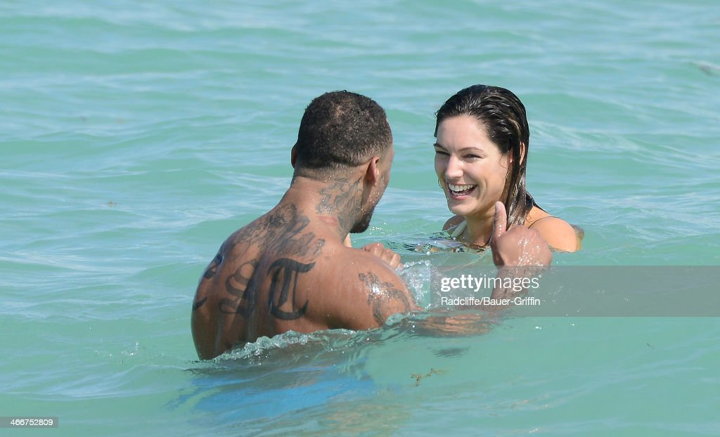 Kelly Brook is seen going for a swim with her boyfriend Dave McIntosh on February 03, 2014 in Miami, Florida.