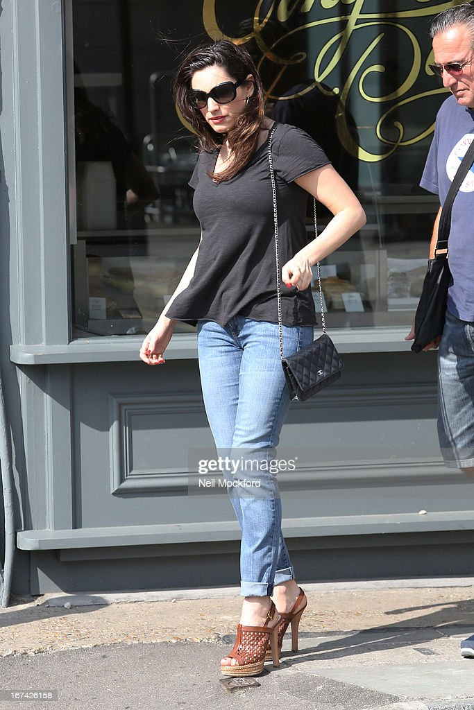 Kelly Brook is seen in London out at lunch after her boyfriend Danny Cipriani was struck by a bus on April 25, 2013 in London, England