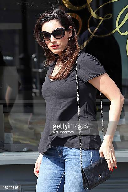 Kelly Brook is seen in London out at lunch after her boyfriend Danny Cipriani was struck by a bus on April 25 2013 in London England