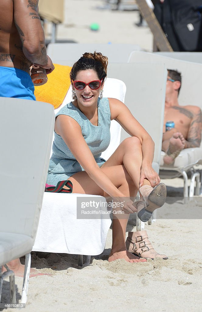 Kelly Brook is seen on February 03, 2014 in Miami, Florida.