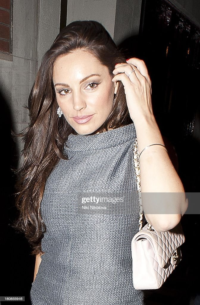 Kelly Brook is sighted leaving lulu Restaurant, Mayfair on September 16, 2013 in London, England.